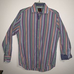 Tailorbyrd Button Up Dress Shirt Striped Colorful